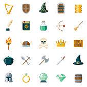 Fantasy Flat Design Icon Set