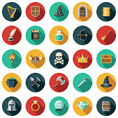 A set of flat design styled fantasy and role playing games icons with a long side shadow. Color swatches are global so it's easy to edit and change the colors.