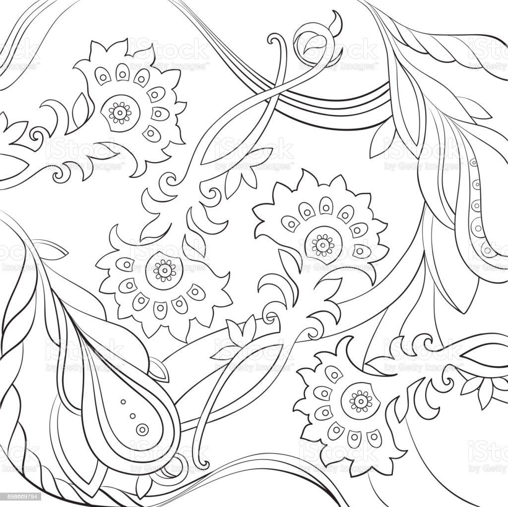 Ilustración de Estampado Floral Fantasía Diseño De Página De Libro ...