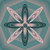 Fantasy floral shape in op-art style on polygonal structured background, 3d illusion, pink and green colors