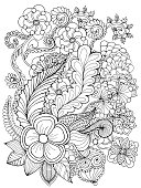 Fantasy flowers coloring page