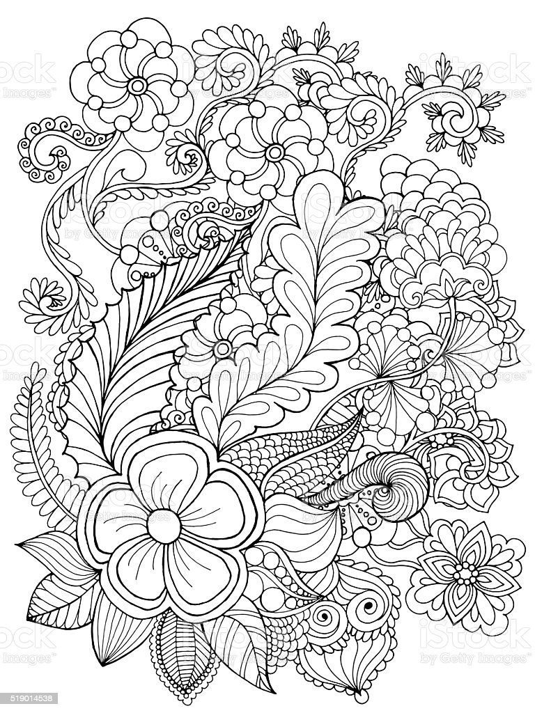 Fantasy flowers coloring page vector art illustration