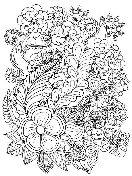 Fantasy flowers coloring page Hand drawn doodle. Floral patterned vector illustration. African, indian, totem, tribal design. Sketch for colouring page, tattoo, poster, print, t-shirt só adultos stock illustrations