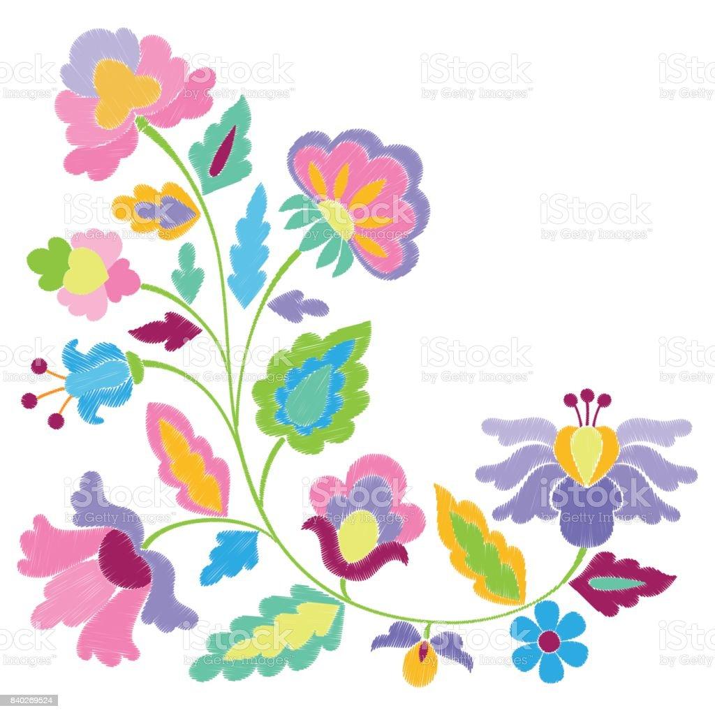 Patrón De Bordado De Flores De Fantasía - Arte vectorial de stock y ...