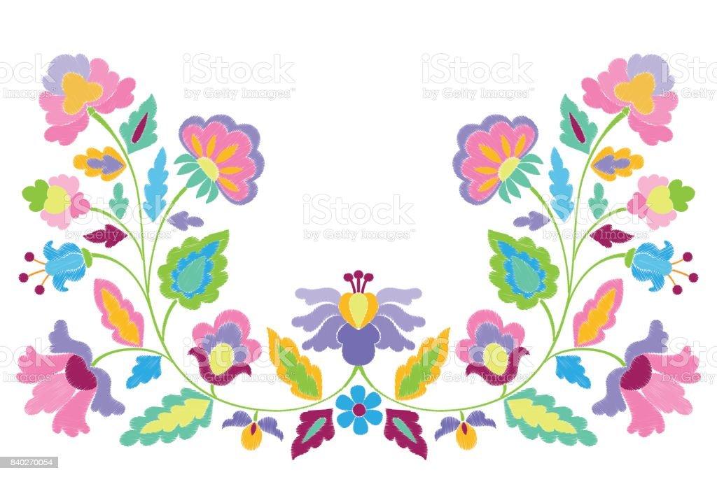 Ilustración de Patrón Simétrico De Fantasía Flores Del Bordado y más ...