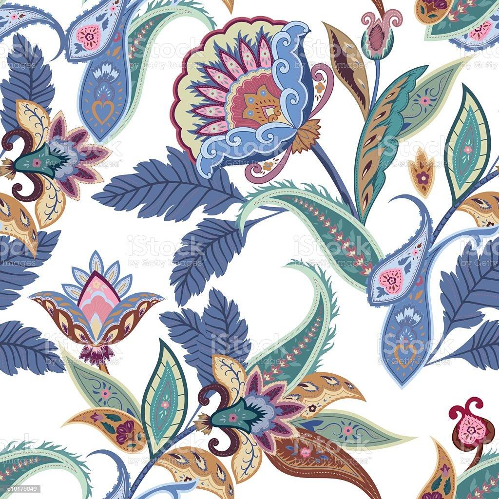 Fantasy flowers seamless paisley pattern vector art illustration