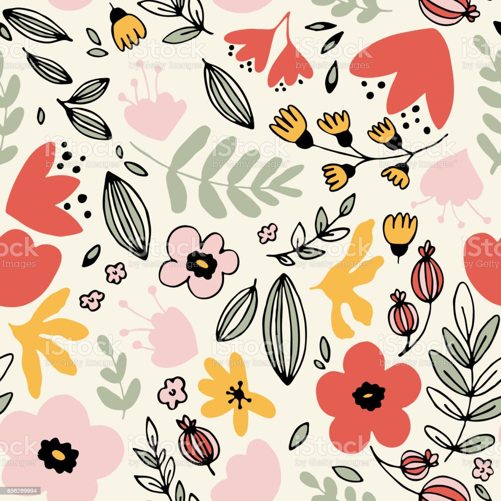 Fantasy flowers seamless pattern vector art illustration