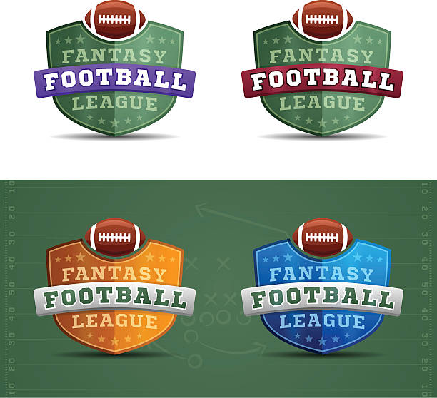 Fantasy Football League Badges Fantasy football league badges. EPS 10 file. Transparency effects used on highlight elements. ncaa college football stock illustrations