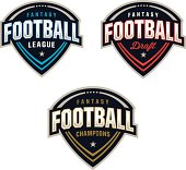 A set of three logos, perfect for any Fantasy Football League. Customize with your own colors and text.