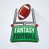 Fantasy football badge concept with endzone and uprights. EPS 10 file. Transparency effects used on highlight elements.
