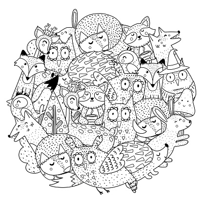 Fantasy forest animals circle shape coloring page. Black and white print