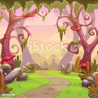 Fantasy forest illustration. Vector nature landscape