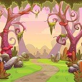 Fantasy forest illustration. Vector nature landscape
