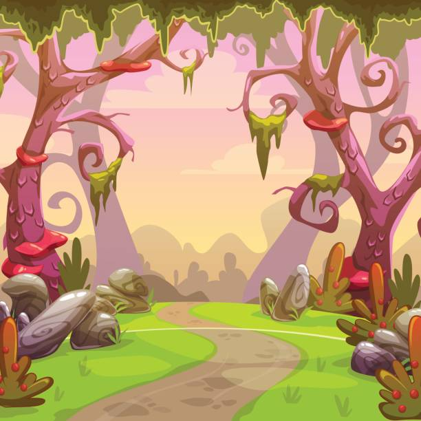 fantasy forest illustration - moss stock illustrations
