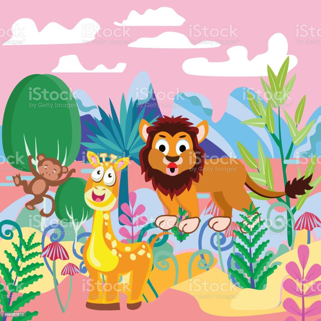 木動物山を持つファンタジー フォレスト テンプレート おとぎ話の