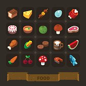 Fantasy game icons set: different food.