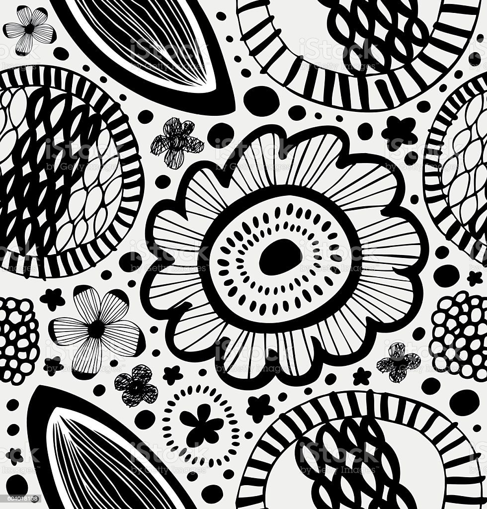 Fantasy graphic pattern in scandinavian style vector art illustration