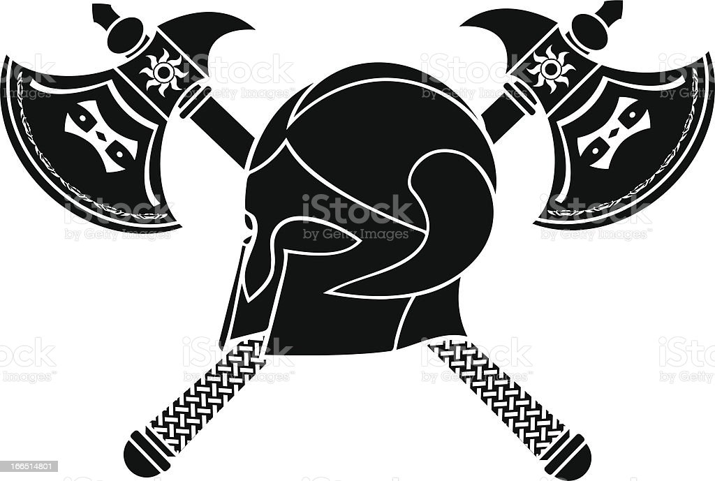 fantasy helmet with axes royalty-free stock vector art