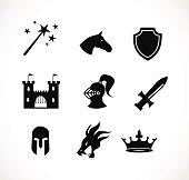 Fantasy icon set vector illustration