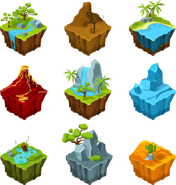 Fantasy isometric islands with vulcans, different plants and rivers. Interface elements in cartoon style. Vector pictures for computer games Fantasy isometric islands with vulcans, different plants and rivers. Interface elements in cartoon style. Vector computer games. Platform with plant and mountain, water and vulcan illustration land feature stock illustrations