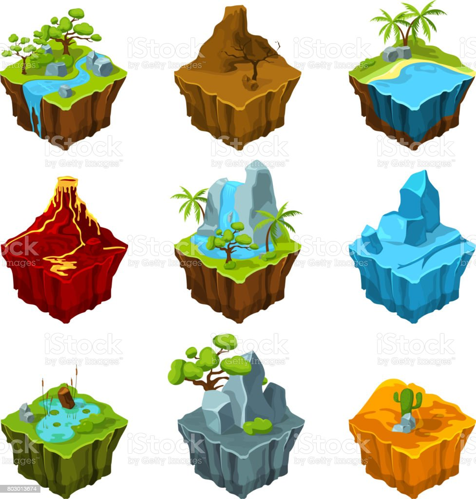 Fantasy isometric islands with vulcans, different plants and rivers. Interface elements in cartoon style. Vector pictures for computer games vector art illustration