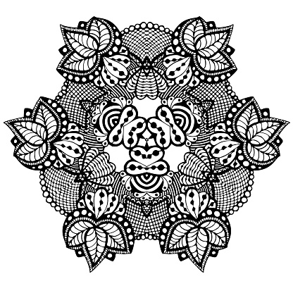 fantasy lace with spiderweed flower leaf ornament black and white handdrawn vector illustration stock illustration download image now istock https www istockphoto com vector fantasy lace with spiderweed flower leaf ornament black and white hand drawn vector gm1196635465 341409097