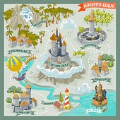 Fantasy land advernture map for cartography with colorful doodle hand draw in vector illustration