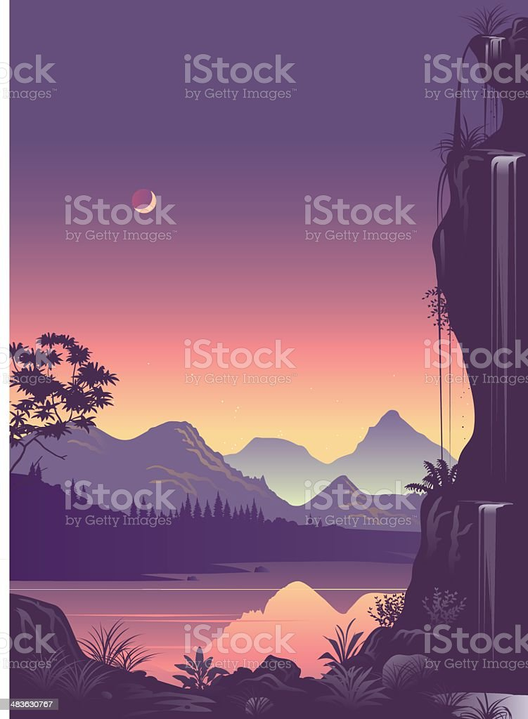 Fantasy land vector art illustration