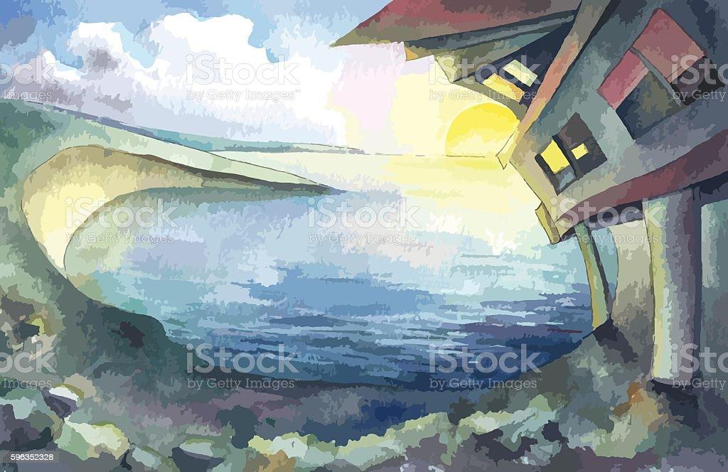 Fantasy land, watercolor illustration, vector Lizenzfreies fantasy land watercolor illustration vector stock vektor art und mehr bilder von baum