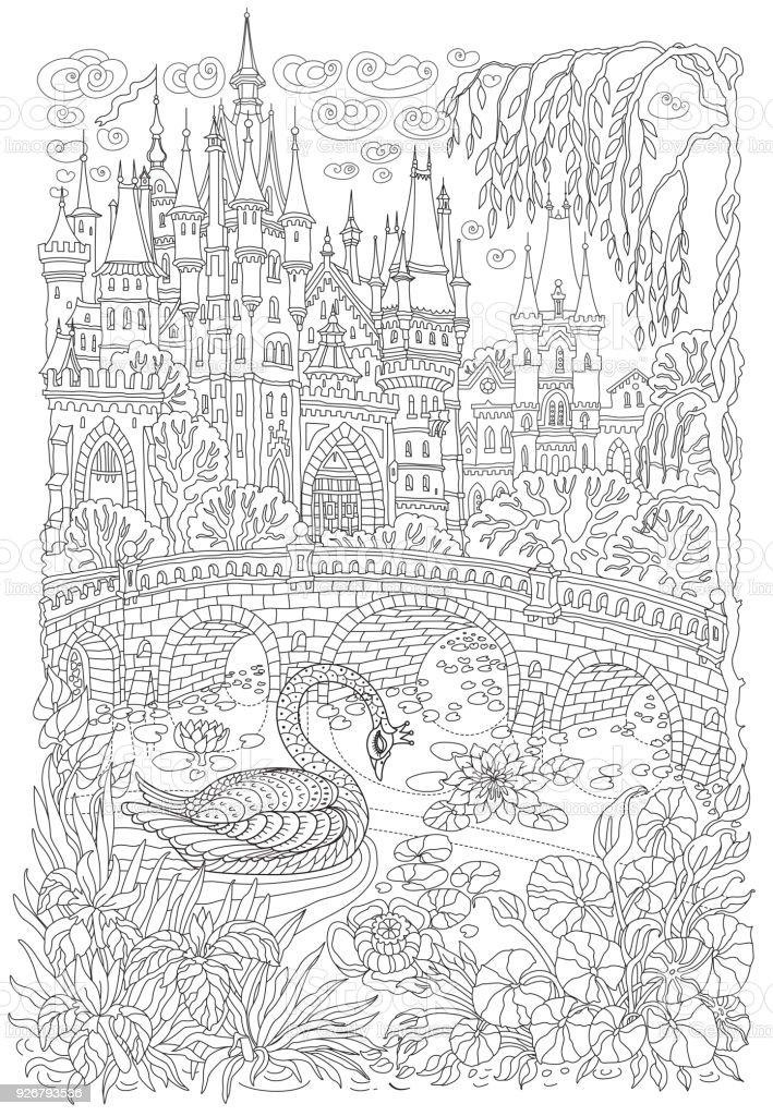 Ilustración de Paisaje De Fantasía Castillo De Cuento De Hadas ...