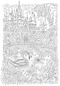 Fantasy landscape. Fairy tale castle. Fantastic water plant, lotus flower. Swan bird princess, lake, medieval bridge T-shirt print. Coloring book page for adults. Black and white doodle sketch