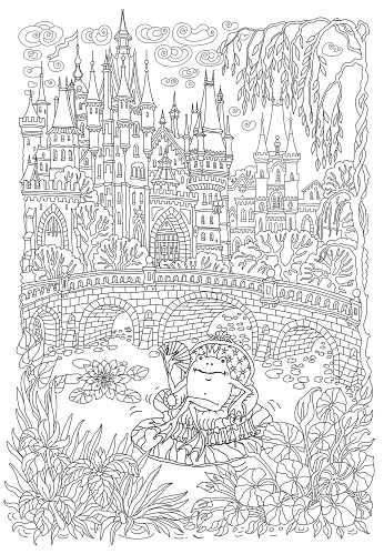 Fantasy landscape. Fairy tale castle. Fantastic water plant, lotus flower. Cartoon frog princess, lake, medieval bridge T-shirt print. Coloring book page for adults. Black and white doodle sketch
