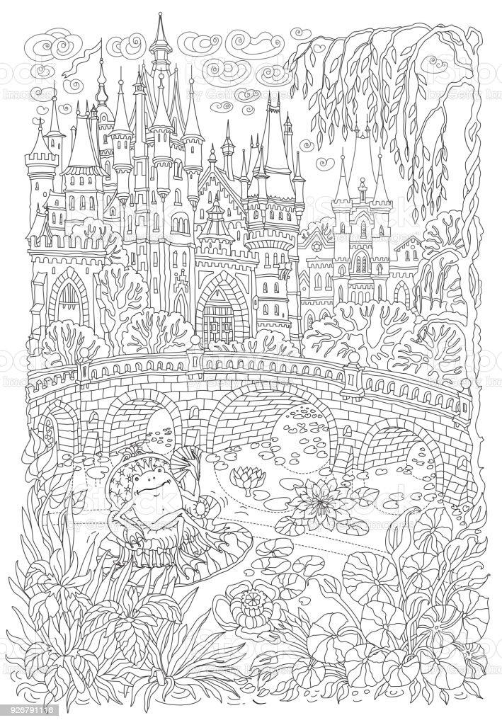 Coloriage Fee Des Eaux.Paysage De Fantaisie Chateau De Conte De Fees Usine Deau