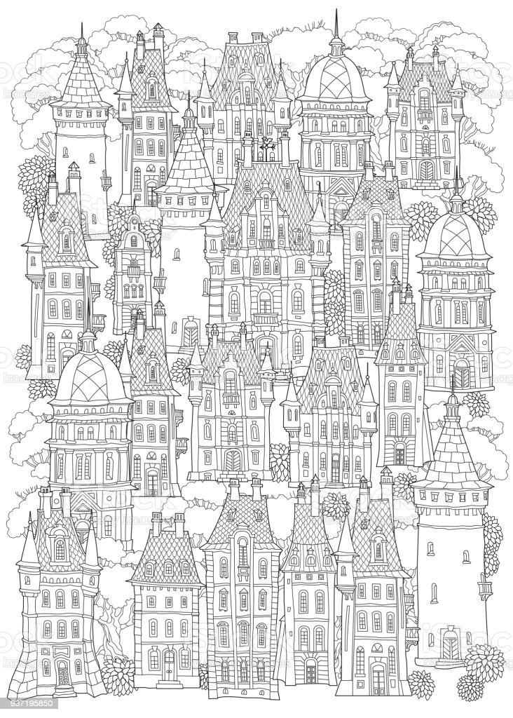 Ilustración de Paisaje De Fantasía Castillo De Cuento De Hadas Casco ...