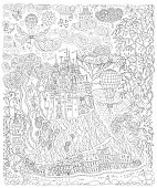 Fantasy landscape. Fairy tale castle on a hill. Fantastic apple tree, garden flower. Flying air balloon, butterfly, thunder cloud. T-shirt print. Album cover. Coloring book page for adults. Black and White