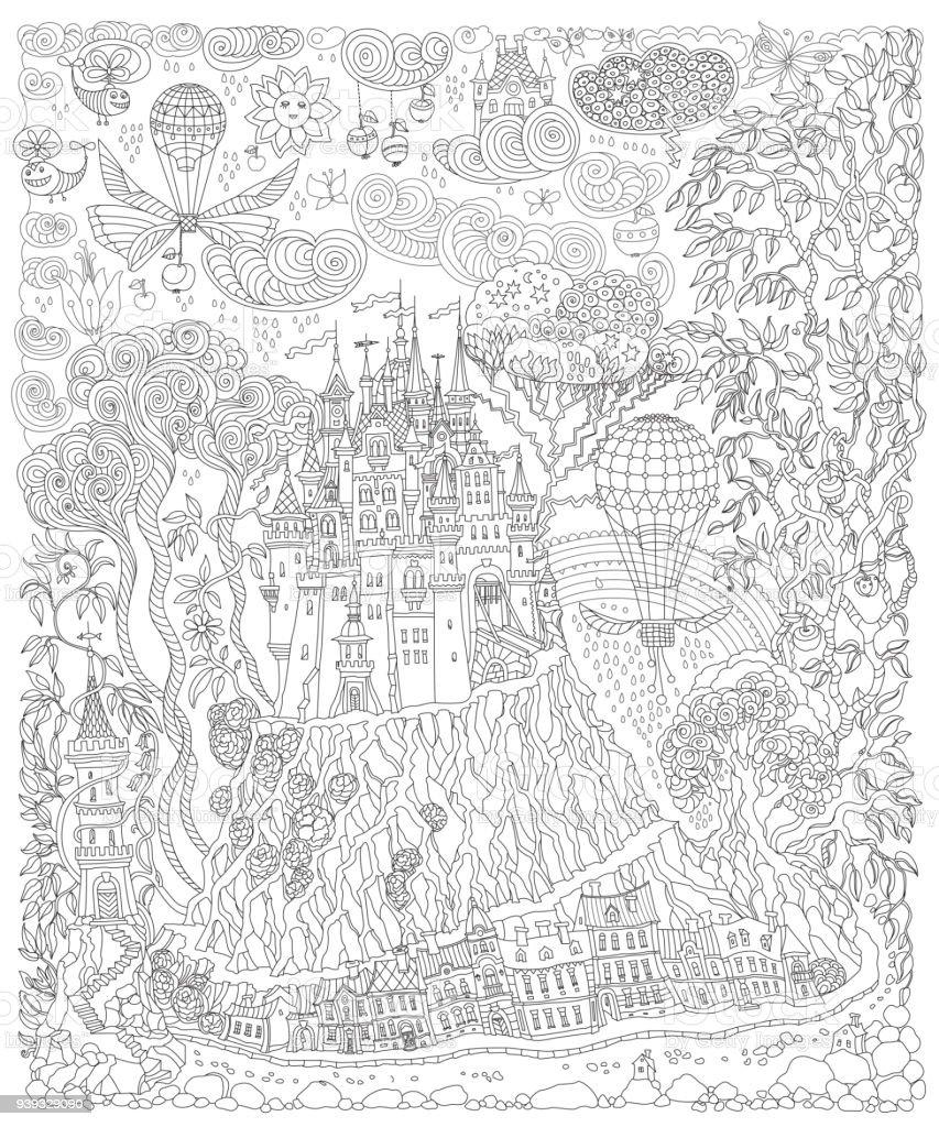 Fantasielandschaft. Märchen-Schloss auf einem Hügel. Fantastische Apfelbaum, Garten Blume. Fliegenden Ballon, Schmetterling, Gewitterwolke. T-Shirt Druck. Album-Cover. Malvorlagen Buch für Erwachsene. Schwarz / weiß – Vektorgrafik