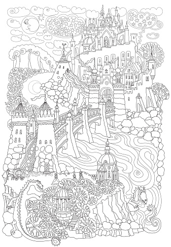 Fantasy landscape. Fairy tale castle on a hill. Fantastic garden, river, stone arch bridge. Funny dragon, horse carriage.T-shirt print. Album cover. Сhildren and adults сoloring book page. Black and White