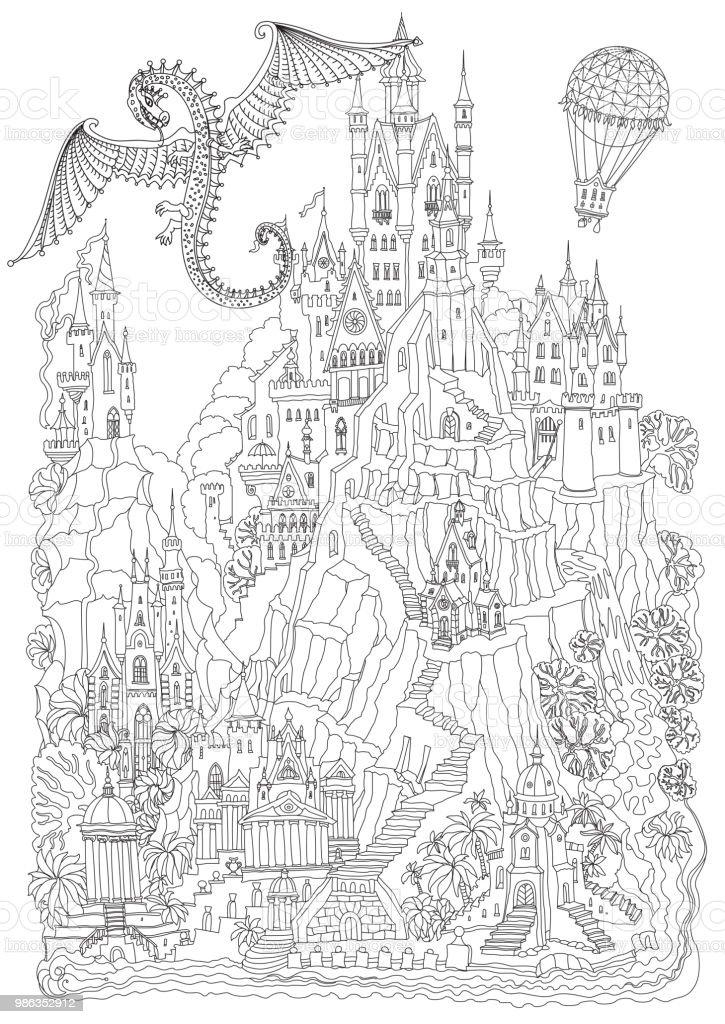 Kleurplaten Voor Volwassenen Tuin.Fantasie Landschap Sprookje Kasteel Op Een Heuvel