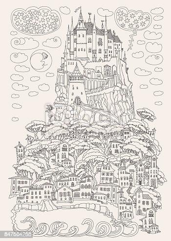 istock Paisaje de fantasía. Castillo de cuento de hadas en una colina ...