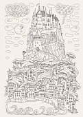 Fantasy landscape. Fairy tale castle on a hill. Fantastic mountain, pine tree, garden, sea wave. Flying thunder cloud. T-shirt print. Album cover.Coloring book page for adults. Black and beige