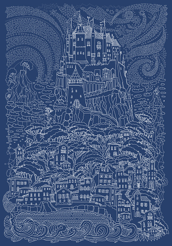 Fantasy landscape. Fairy tale castle on a hill. Fantastic mountain, clouds, pine trees, sea wave. Flying stars. T-shirt print. Album cover. Christmas, New Year vintage card. Indigo blue and white