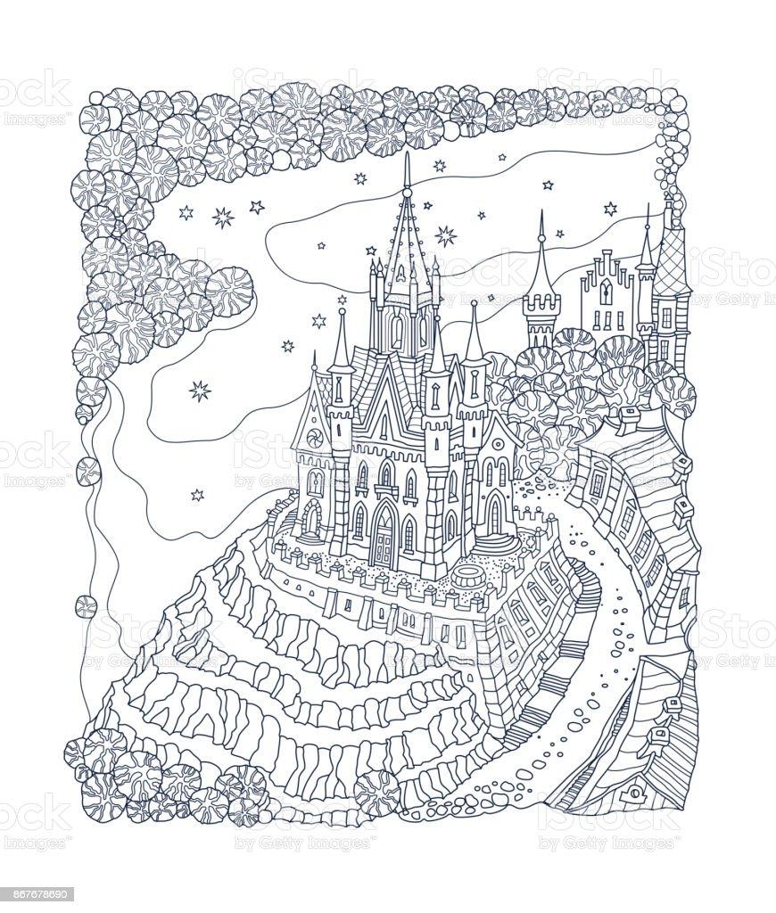 Fantasielandschaft Märchenschloss Auf Einem Hügel Fantastische ...