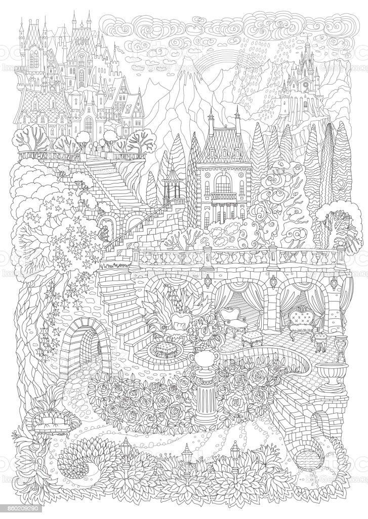 Ilustración de Paisaje De Fantasía Castillo De Cuento De Hadas En ...