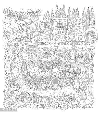 Ilustración de Paisaje De Fantasía Castillo De Cuento De Hadas Sobre ...