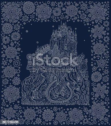 Fantasy landscape. Fairy tale castle on a tree stub. Fantastic white snowflake frame on a dark indigo blue background.Christmas and New Year greeting card. T-shirt print. Album cover. Batik paint