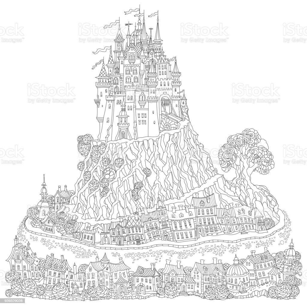Fantasielandschaft Märchen Mittelalterliche Burg Auf Einem Hügel ...