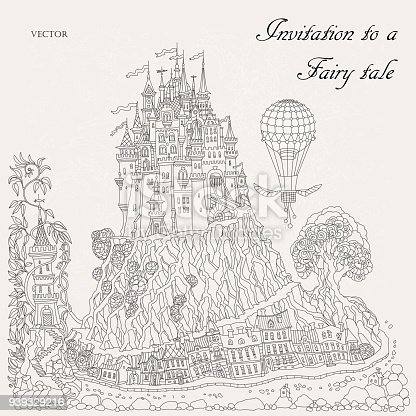 Fantasy landscape. Fairy tale medieval castle on a hill. Fantastic oak tree, old street, lighthouse. Flying air balioon. T-shirt print. Album cover, invitation card. Coloring book page.Monochrome doodle drawing on a beige background