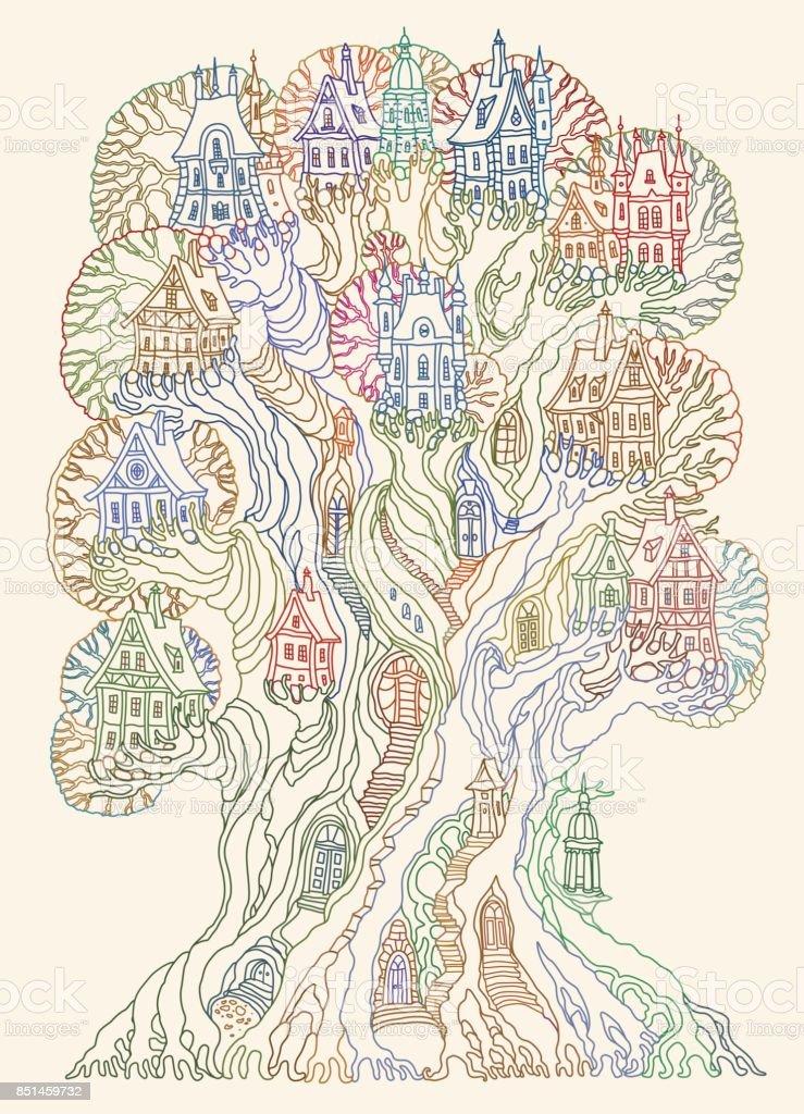 Town Landscape Vector Illustration: Fantasy Landscape Fairy Tale Oak Tree With Castle Old