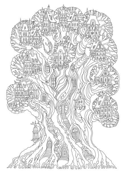 fantasielandschaft. märchen eiche baum mit burg, mittelalterliche altstadt, fachwerkhaus. hand gezeichnete skizze, ferienhaus silhouette. t-shirt druck. album-cover. malvorlagen buch für erwachsene. schwarz / weiß-doodle - türposter stock-grafiken, -clipart, -cartoons und -symbole