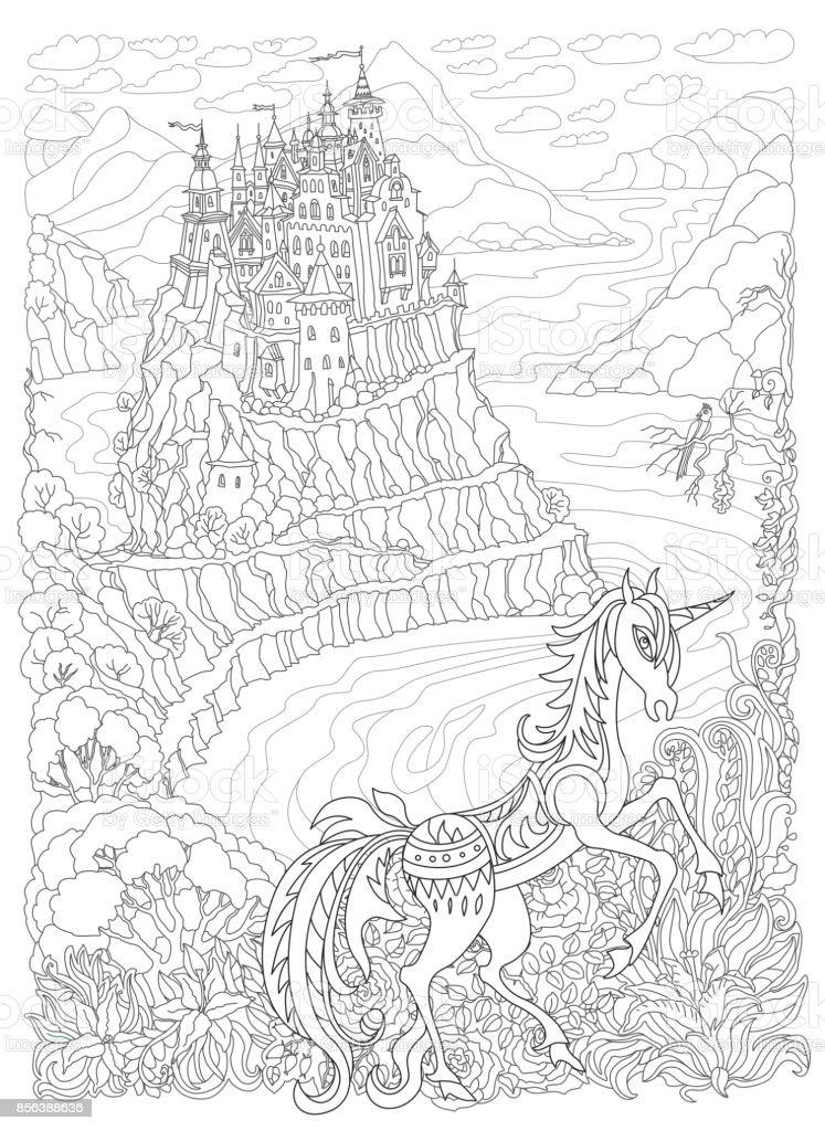 Ilustración de Paisaje De Fantasía Caballo Unicornio De Cuento De ...